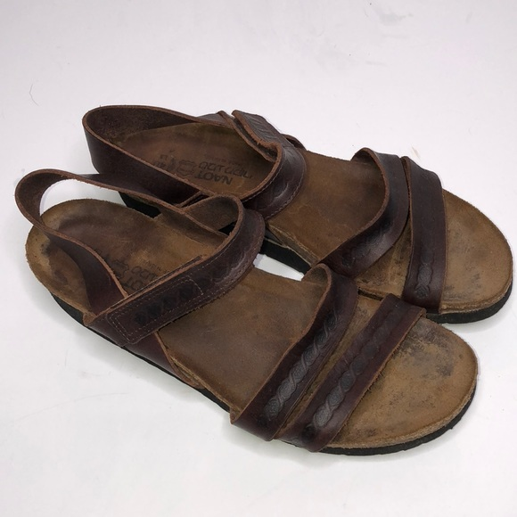 0365e0dfdb24 Naot Shoes - NAOT Kayla brown leather ankle strap sandals 40 9